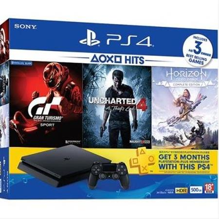 SONY PS4 SLIM 500 GB+GRAN TURISMO+UNCHARTED 4+HORIZON+3 AY PS PLUS HEDİYE